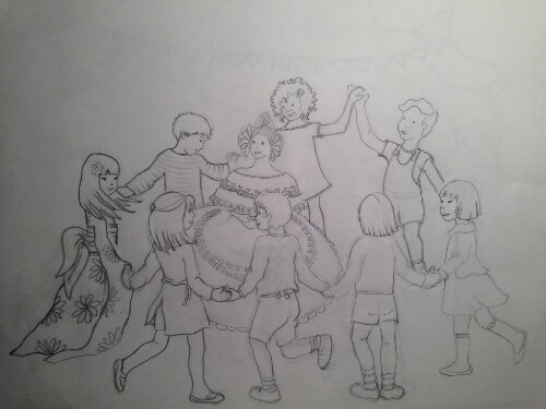"""""""niños del Mundo"""" Un guiño a Panamá, pollera, begoña pérez-Herrera moreno, bgophycolorincolorado, Boceto para Pintura mural"""