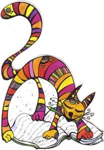 ilustración, gatito colores, tinta, papel