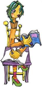 """bgoph ilustración, enredada entre libros y textos"""""""
