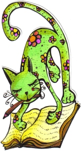 bgoph, ilustración, tinta,gatita verde