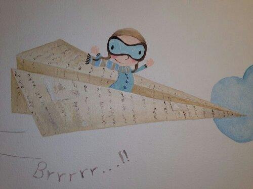 """""""aviador de papel"""", Begoña Pérez-Herrera Moreno , bgophycolorincolorado.com, pintura mural, decoración infantil, niños, kids room"""