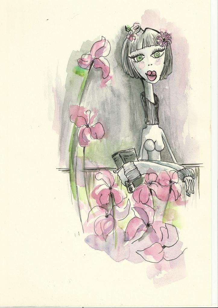 Disfrutando del olor de mis flores...
