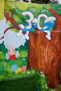 Pintura mural, begoña pérez-herrera moreno, bgophycolorincolorado, escuela infantil pitufos, vigo, galicia