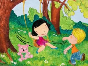 """""""niños en columpio"""" Pintura Mural Begoña Pérez-Herrera Moreno, escuela Infantil pitufos de Vigo, bgophycolorincolorado"""