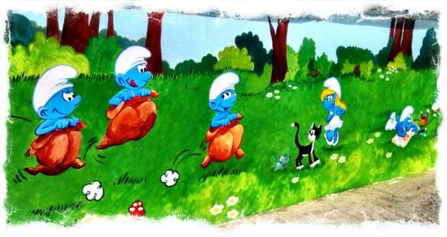 Pitufos, Pintura Mural