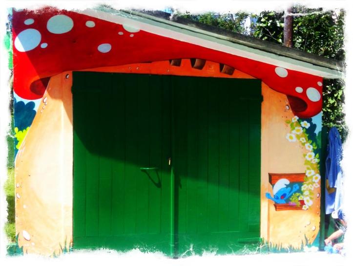 Pintura Mural pitufos, Vigo, bgophycolorincolorado