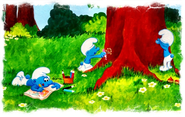 Pintura Mural, Pitufos, bgophycolorincolorado,