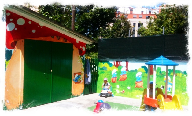 Pintura Mural, escuela Infantil Pitufos Vigo, galicia. bgophycolorincolorado, Begoña Pérez-Herrera moreno