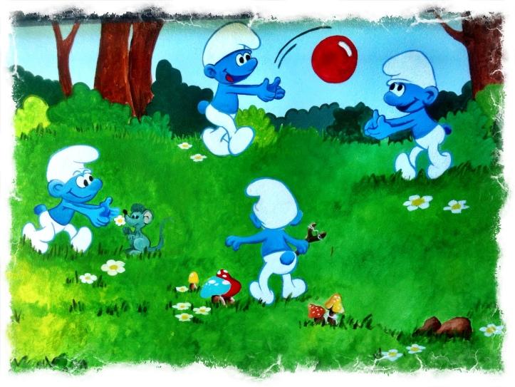 Mural Pitufos, escuela Infantil, vigo,