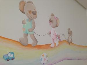 """Pintura Mural, """"Ratoncitos over the Rainbow"""" , Autora Begoña Pérez-Herrera Moreno, inspirada en una ilustración de Slivia Muñoz., vigo, spain"""