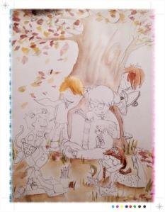 Ilustración, Boceto de prueba , estudio de color, acuarela, Begoña Pérez-herrera moreno.
