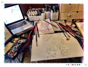 Cuentacuentos bajo el árbol, boceto, ilustración, pintura mural, vigo, begoña pérez-herrera moreno, bgophycolorincolorado