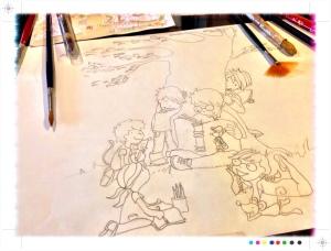 ilustración, boceto para Pintura Mural, vigo, Begoña pérez-herrera moreno,
