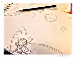 boceto incompleto de ilustración sobre el Espacio, Begoña pérez-Herrera Moreno