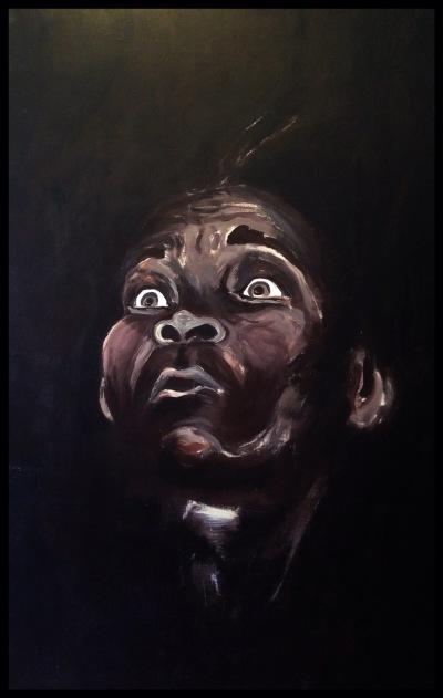 """Miedo"" Acrílico sobre lienzo, 100x0`70 m, Sebastiao Salgado. Begoña Pérez-Herrera Moreno, 1994. Vigo,Pontevedra"