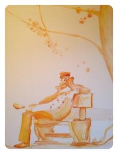 Pintura Mural, Corto Maltés. ilustración de Hugo Pratt, realizada por Begoña Pérez-Herrera Moreno para un dormitorio, Vigo bgophycolorincolorado, www.begoperezherrera.com, marinero, aguada, Vigo