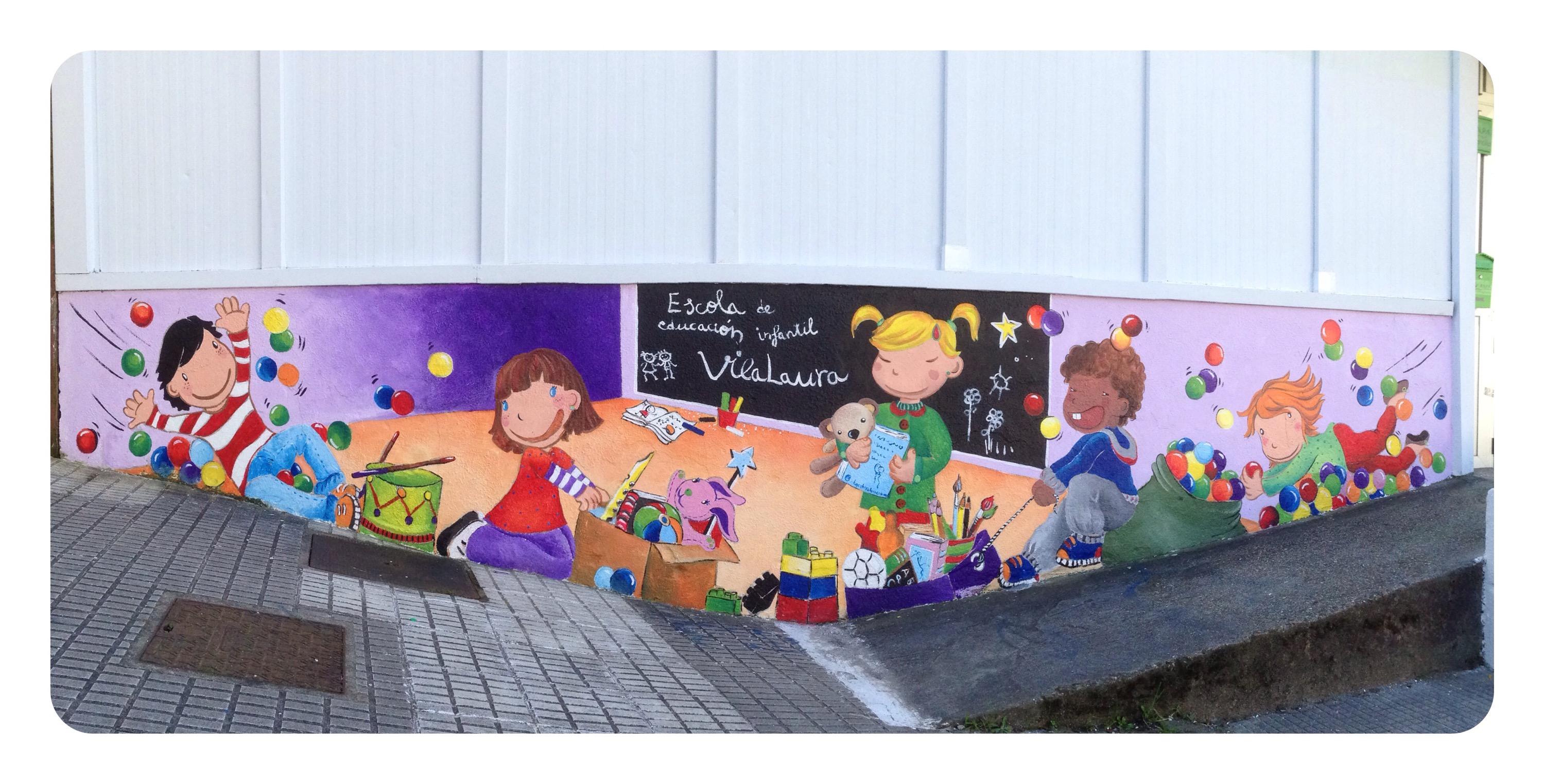 Mural escola educaci n infantil vilalaura vigo bgoph y for Plafones de pared infantiles