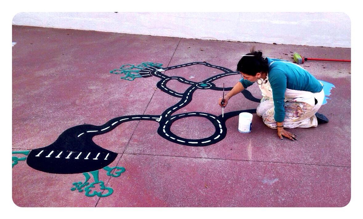 pintura patio colegio, bgophycolorincolorado