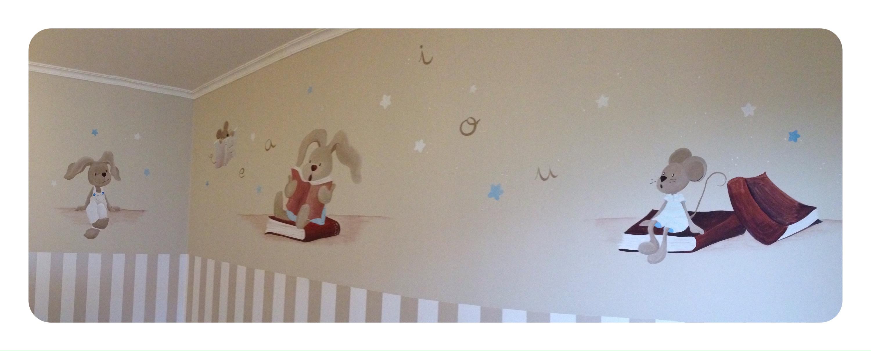 pintura Mural, Vigo, Conejitos y Ratones, idea original Pilar Burguet, Magda Playá...