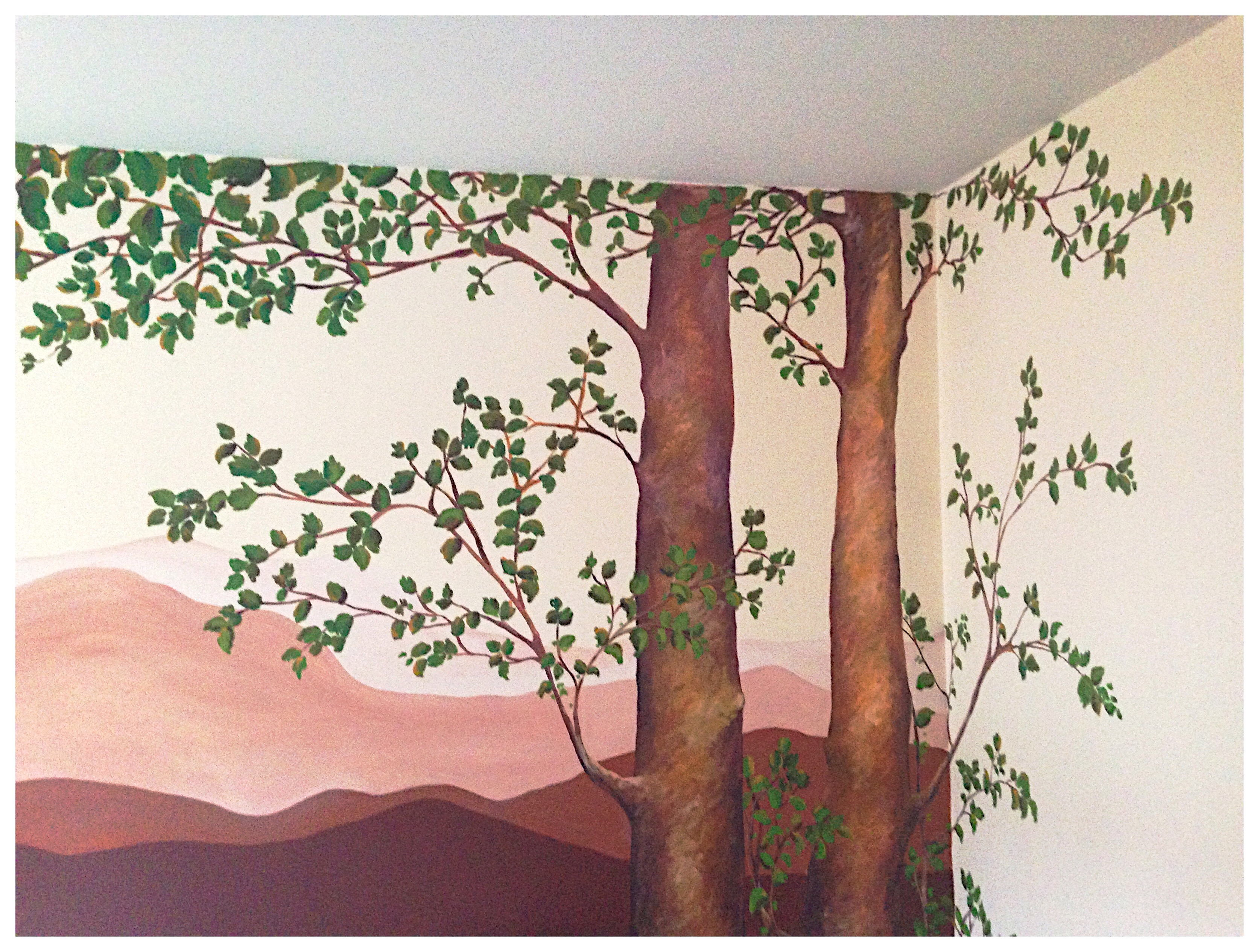 #mural, #decoraciòn, #muralpaint, #dormitorio, #paisaje, #árboles, #begoperezherrera, #bgophycolorincolorado, #montañas, #decoration, #vigo, ##galicia