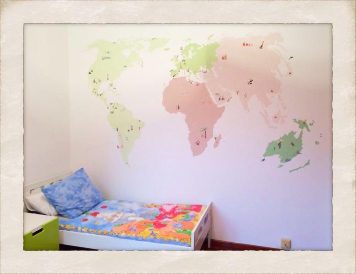 Mural dormitorio infantil, MapaMundi. Vigo.www.bgophycolorincolorado.com